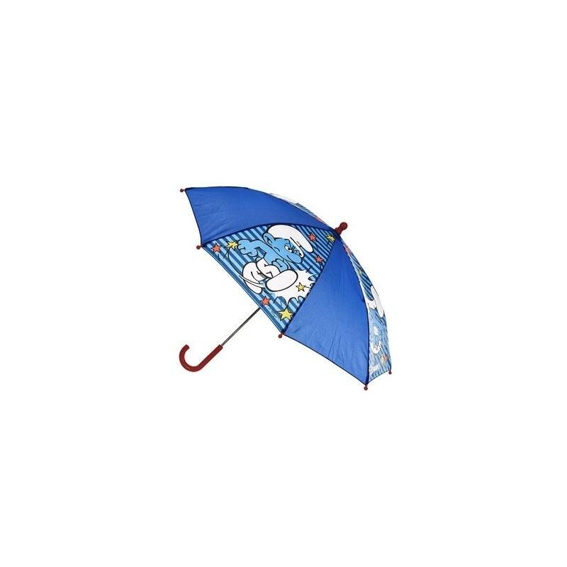 Modrý manuální deštník Šmoulové s červenou rukojetí