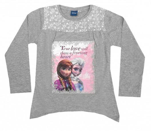 Dívčí bavlněná tunika s dlouhým rukávem šedá Frozen / Ledové království