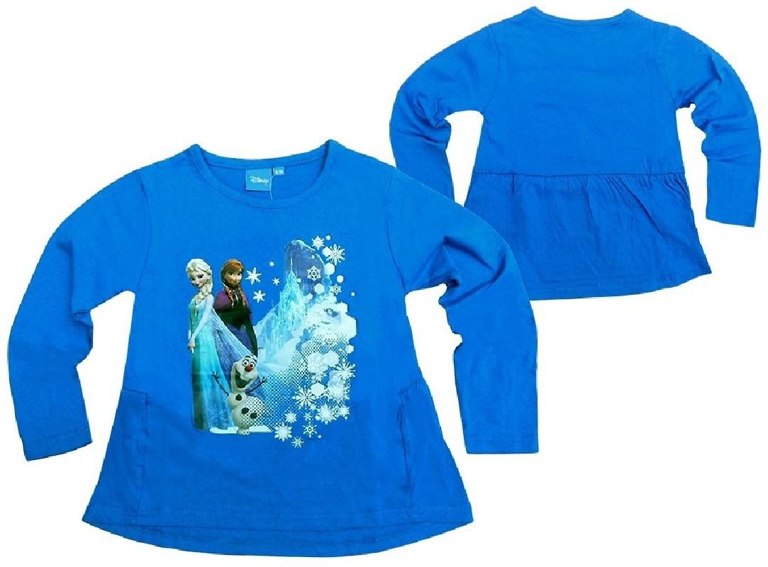 Modré Dívčí Tričko S Dlouhým Rukávem Frozen / Ledové Království Anna A Elsa