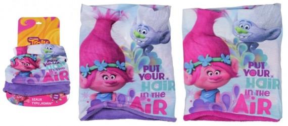 Fleesový nákrčník pro holky Trollové Poppy fialový / růžový