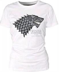 Dámské tričko Game Of Thrones / Hra o trůny Stark logo (M) Bílé