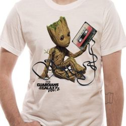 Tričko Pánské Strážci Galaxie / Guardians Of Galaxy Groot And Tape Bilé Xxl