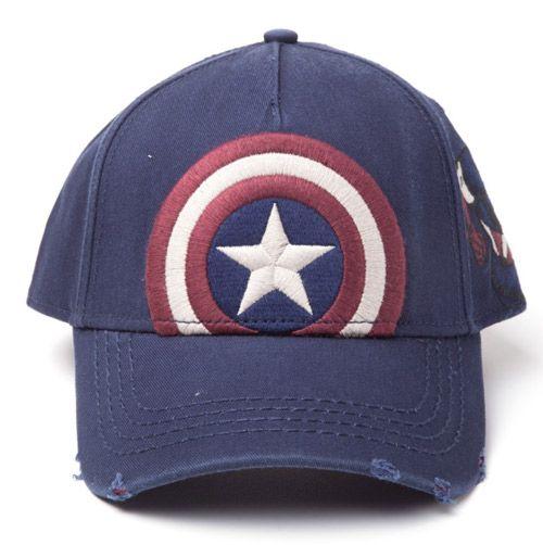31eeaa7dd77 Čepice Baseballová Kšiltovka Captain America   Kapitán Amerika Vintage Modrá  Uni