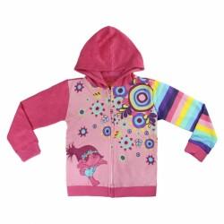 Dívčí mikina na zip s kapucí růžová Trolls / Trollové Poppy / vecizfilmu