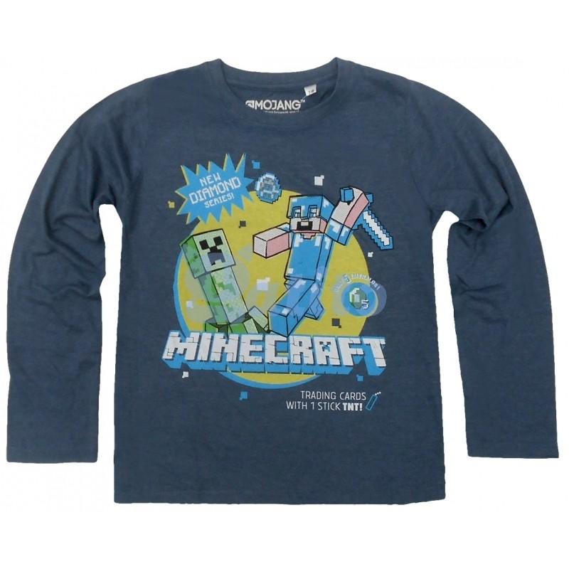 f023e98309e Chlapecké Tričko S Dlouhým Rukávem Tmavě Modré Minecraft
