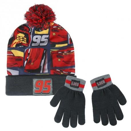 c08e0cca94a Sada Podzimního   Zimního Oblečení   Rukavice A Čepice S Bambulí Cars    Auta S Bleskem McQueenem