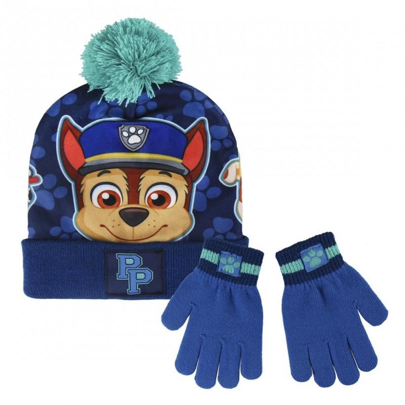 Podzimní   zimní sada oblečení pro kluky rukavice a čepice s bambulí Paw  Patrol Chase 8d84bd14e5