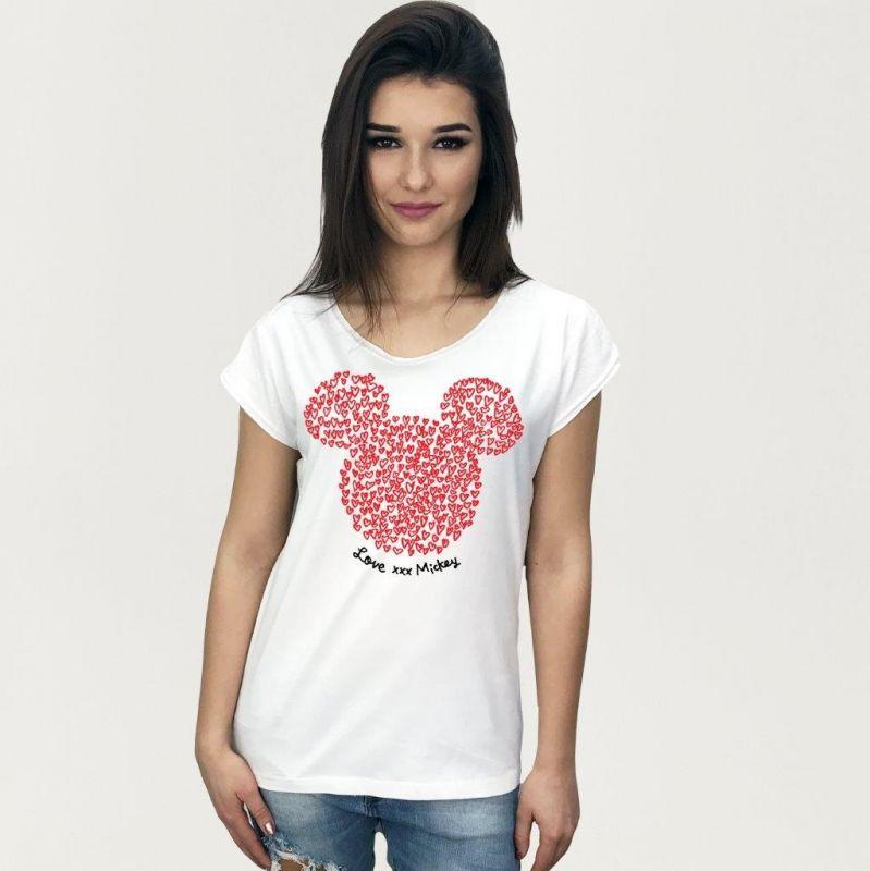 Dámské Tričko S Krátkým Rukávem Mickey Mouse Siluette Bílé S/m