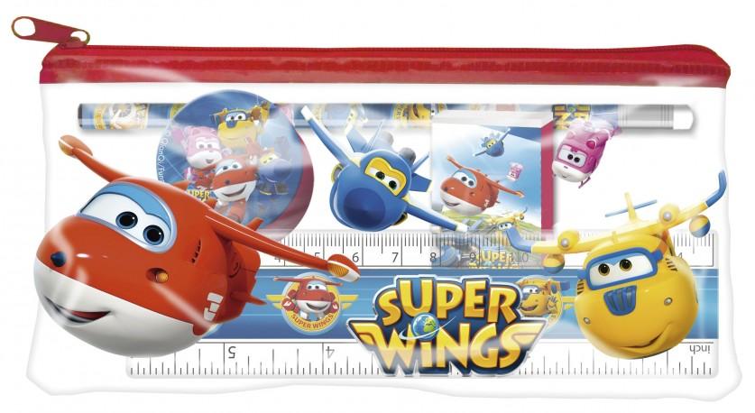 Průhledný penál / pouzdro s vybavením Super Wings