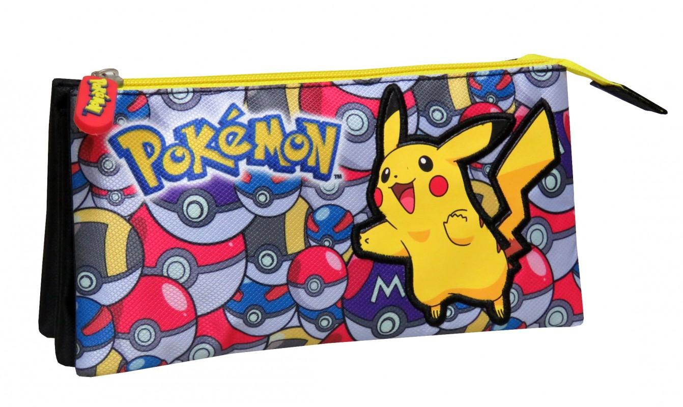Taštička / penál se třemi příhrádkami Pokémon Pikachu