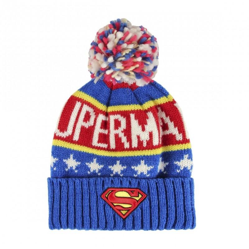 Pletená podzimní / zimní čepice s bambulí Superman / vecizfilmu