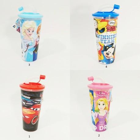 Pohárek s uzavíratelným brčkem a pytlíčkem sušenek / Cars / Frozen / Mickey Mouse / Princess