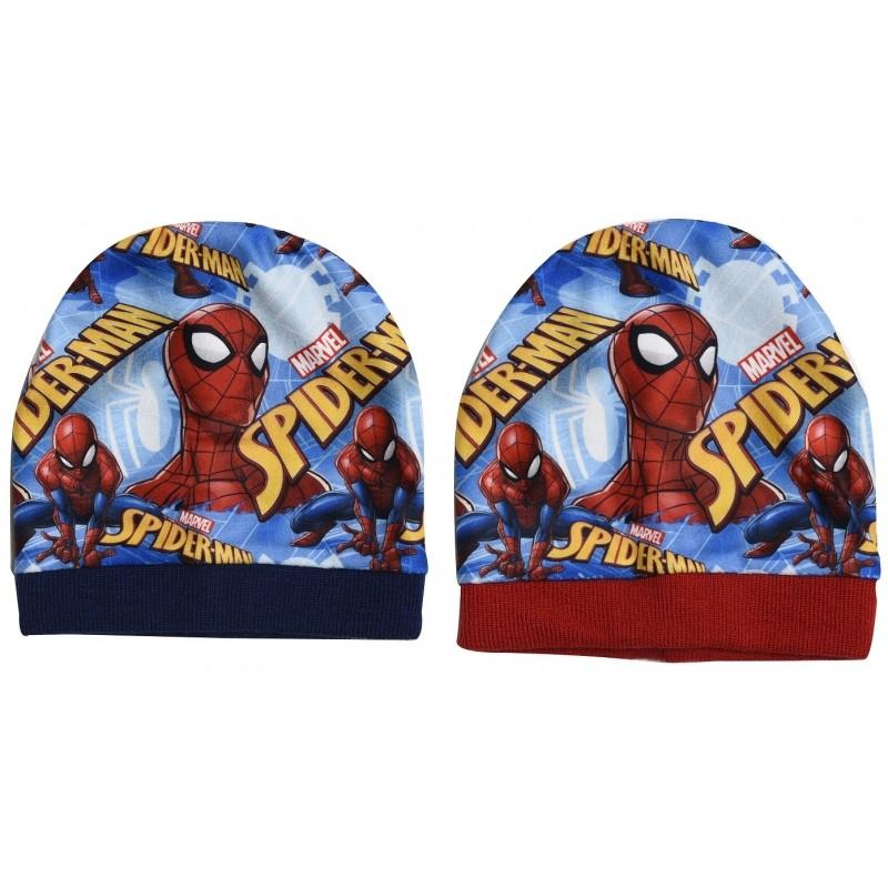 Chlapecká čepice podzimní / zimní Spiderman modrá / červená