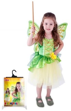 Dětský karnevalový kostým víla Zelenka s křídly velikost S
