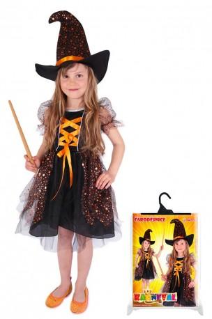 Dětský karnevalový kostým čarodějnice / halloween hvězdička velikost L