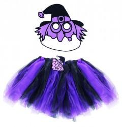 Karnevalový kostým čarodějnice / halloween fialová - sukně + maska