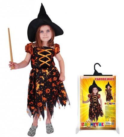 Dětský karnevalový kostým čarodějnice  /halloween s kloboukem velikost M