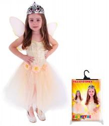 Dětský karnevalový kostým víla květinka s křídly velikost S