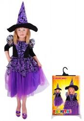 Dětský karnevalový kostým čarodějnice / halloween fialová s rukávy velikost 5-8 let