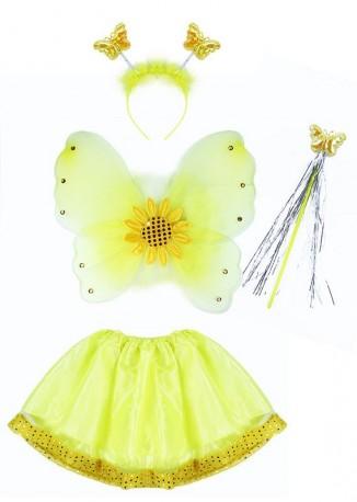 Dětský karnevalový kostým slunečnice s křídly 3 - 10 let