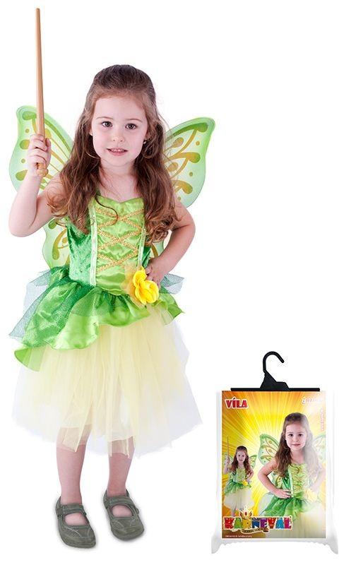 Dětský karnevalový kostým víla Zelenka s křídly velikost M