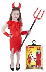 Dětský karnevalový kostým čertice červená velikost S