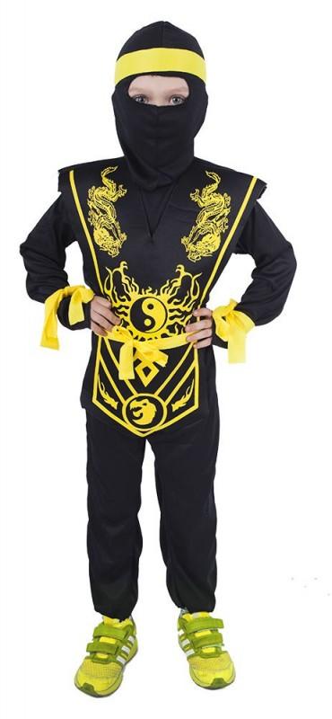 Dětský karnevalový kostým NINJA černo - žlutý velikost S