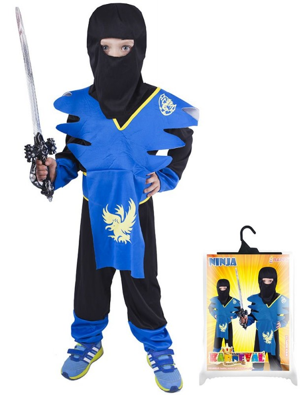 Dětský karnevalový kostým NINJA modro / žlutý velikost M