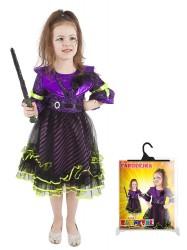 Dětský karnevalový kostým čarodějnice / halloween fialová velikost S