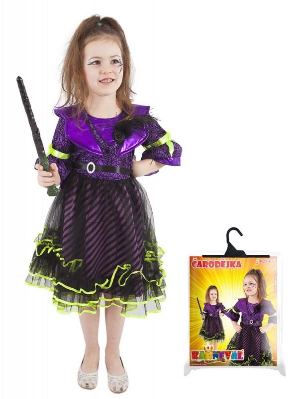 Dětský karnevalový kostým čarodějnice / halloween fialová velikost L