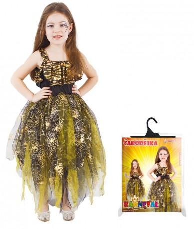 Dětský karnevalový kostým čarodějnice / halloween zlatá velikost S