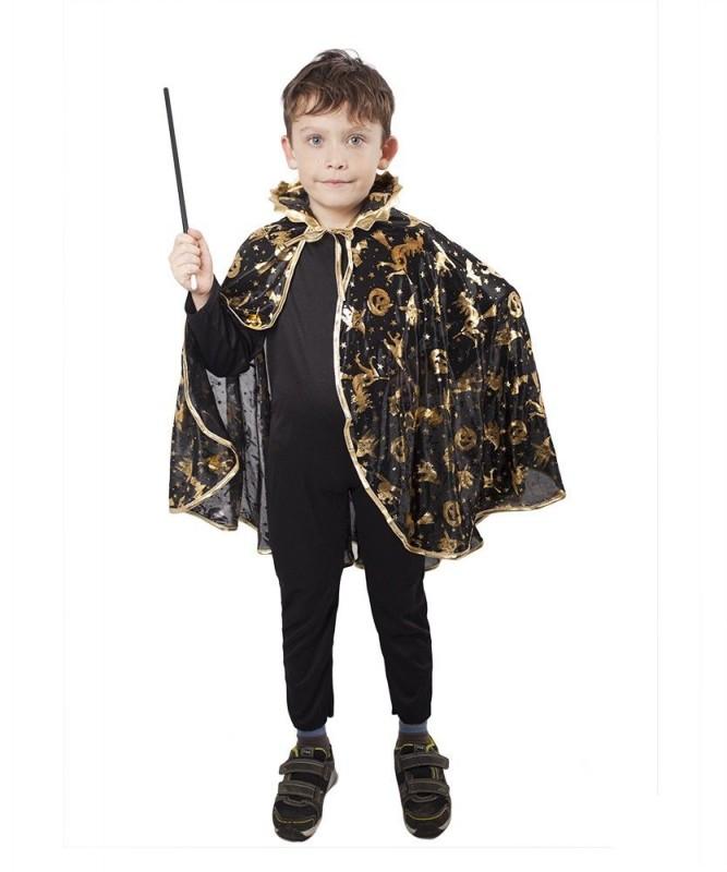 Dětský karnevalový kostým plášť čarodějnický černý 3-10 let