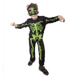 Dětský karnevalový kostým kostlivec NEON velikost S