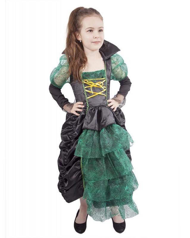 Dětský karnevalový kostým + klobouk čarodějnice zelená velikost S