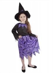 Dětský karnevalový kostým čarodějnice fialová velikost S