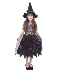 Dětský karnevalový kostým čarodějnice barevná velikost M