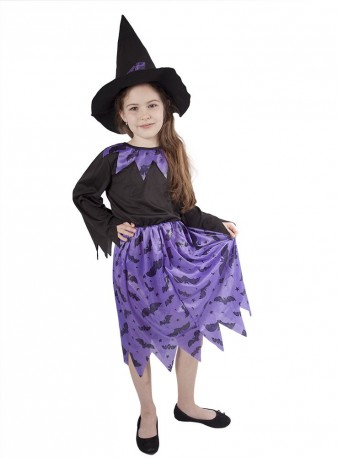 Dětský karnevalový kostým čarodějnice fialová velikost M