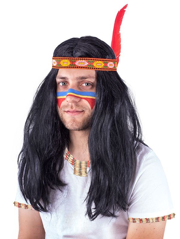 Paruka s čelenkou indián pro dospělé