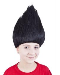 Paruka skřítek stojící vlasy černá