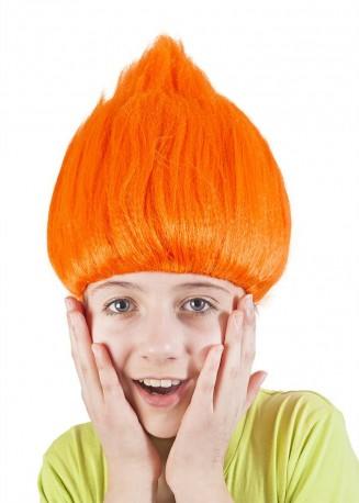 Paruka skřítek stojící vlasy oranžová