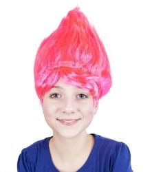 Paruka skřítek stojící vlasy růžová