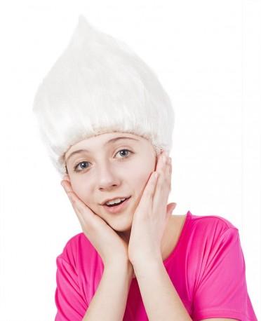 Paruka skřítek stojící vlasy bílá