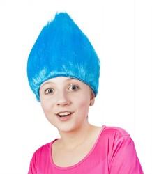 Paruka skřítek stojící vlasy modrá