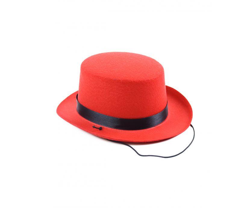 Klobouk buřinka s černou stuhou mini červená