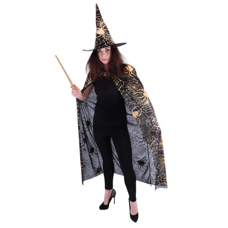 Čarodějnický plášť s kloboukem pro dospělé