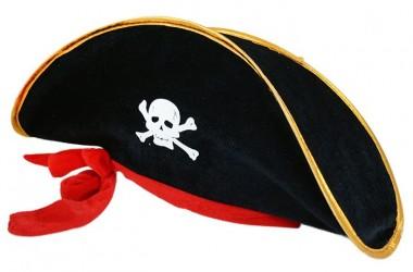 Klobouk pro dospělé kapitán pirát se stuhou a lebkou