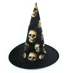 Klobouk čarodějnický s lebkami pro dospělé