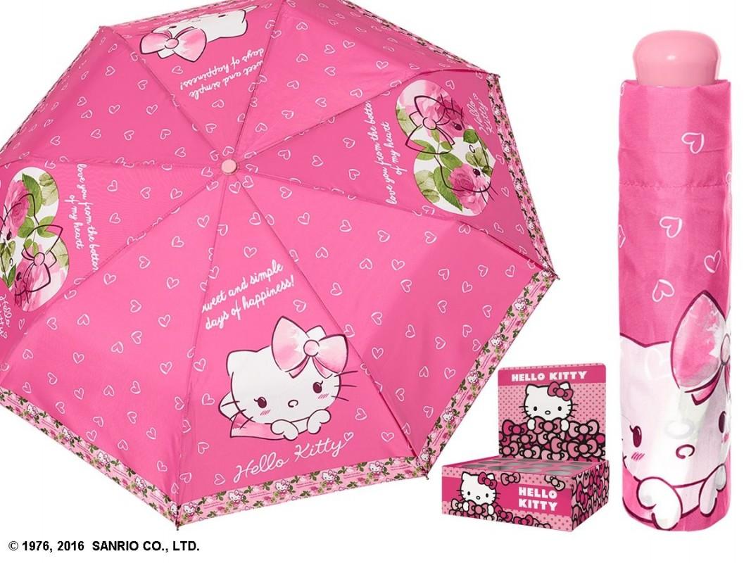 Dívčí manuální skládací deštník Hello Kitty růžový