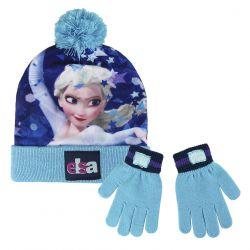 Podzimní / zimní sada oblečení čepice a rukavice Frozen Elsa velikost 52 / 54 cm
