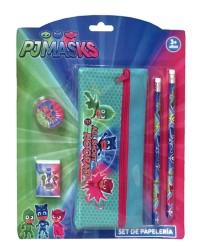 Školní sada Pyžamasky / PJ Masks penál na zip / 2 tužky / guma / ořezávátko / vecizfilmu